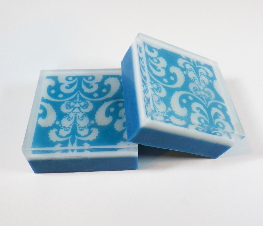 Love Spell Scented White and Blue Damask Gyclerin and Goat's Milk Soap
