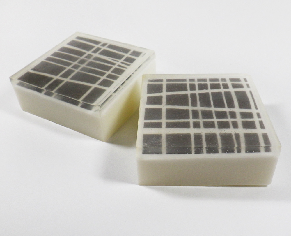 Asymmetrical Grey and White Striped Scented Shea Butter Soap- Oatmeal, Milk, and Honey