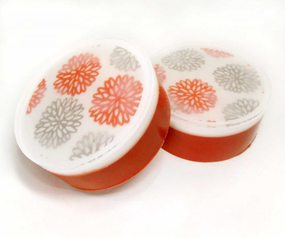 Red and Grey Mums Graphic Shea Butter Soap Black Currant and Nectarine Scent